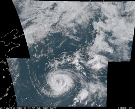 ひまわり8号可視画像 2017年8月4日9時JST