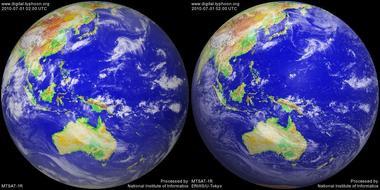 2010年7月1日11時のMTSAT-1R画像(左:赤外線 右:可視画像)