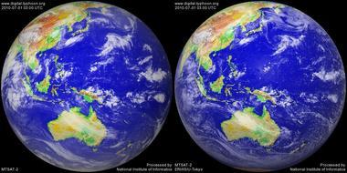 2010年7月1日12時のMTSAT-2画像(左:赤外線 右:可視画像)